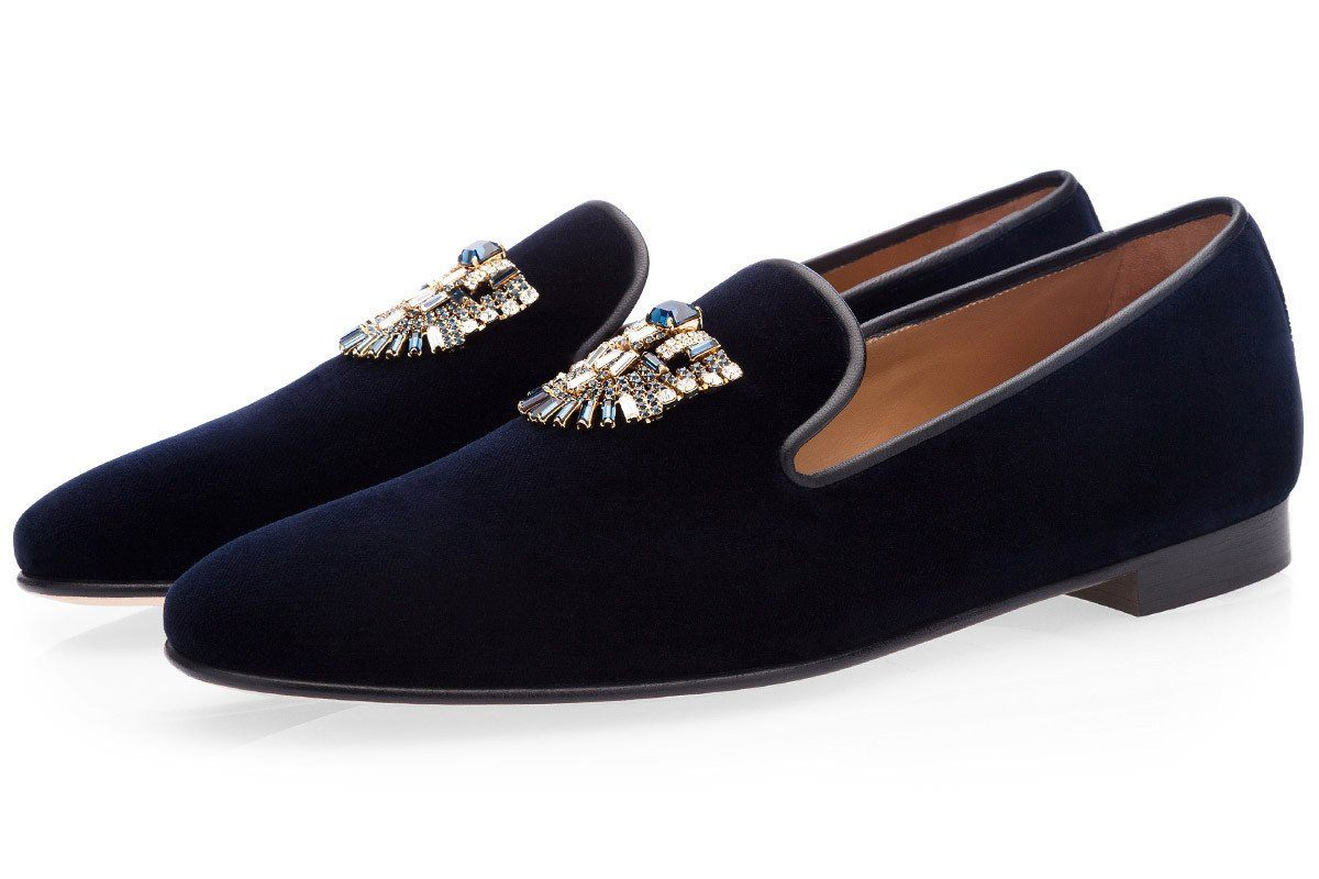 MAYA VELOUR NAVY SLIPPERS