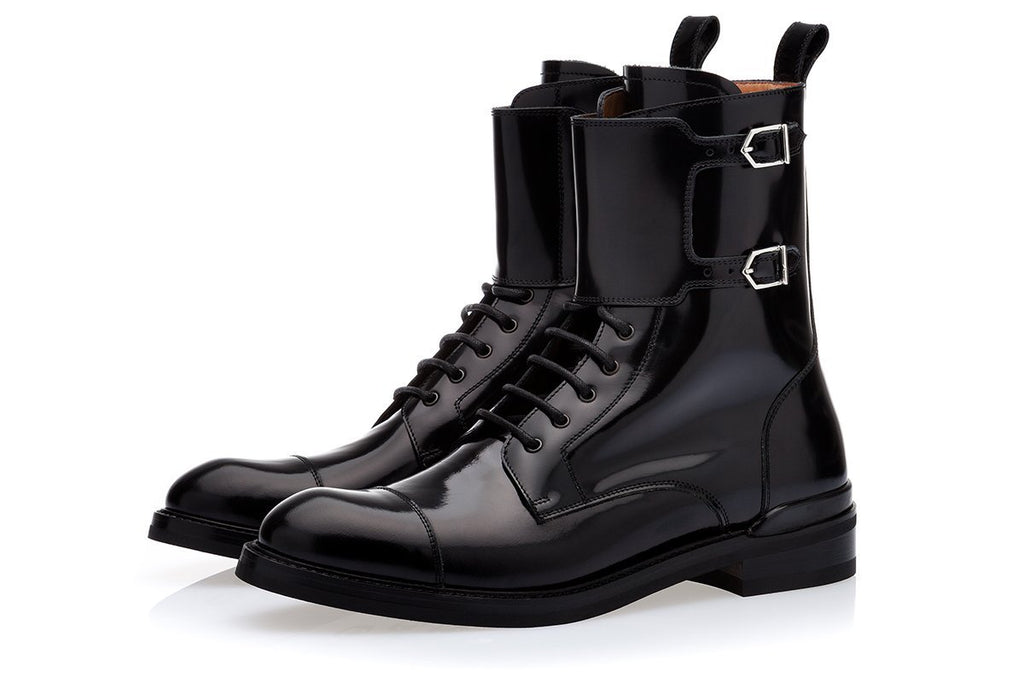 ODILON BRUSHED BLACK ARMY BOOTS