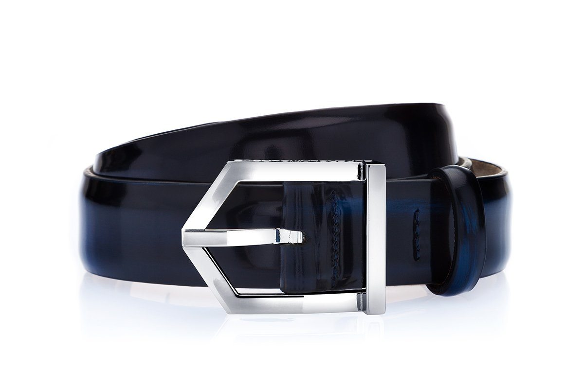 ODILON BRUSHED NAVY BELT Belts Superglamourous