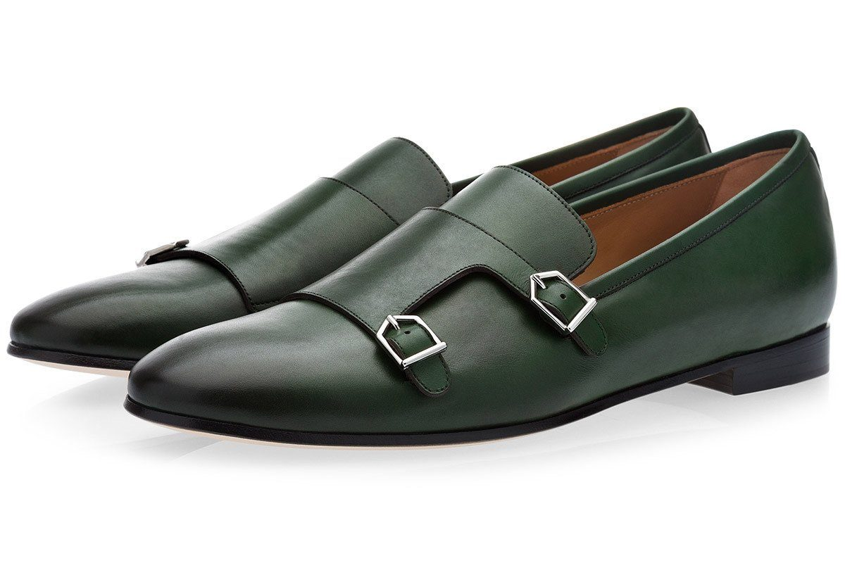 ODILON NAPPA GREEN LOAFERS