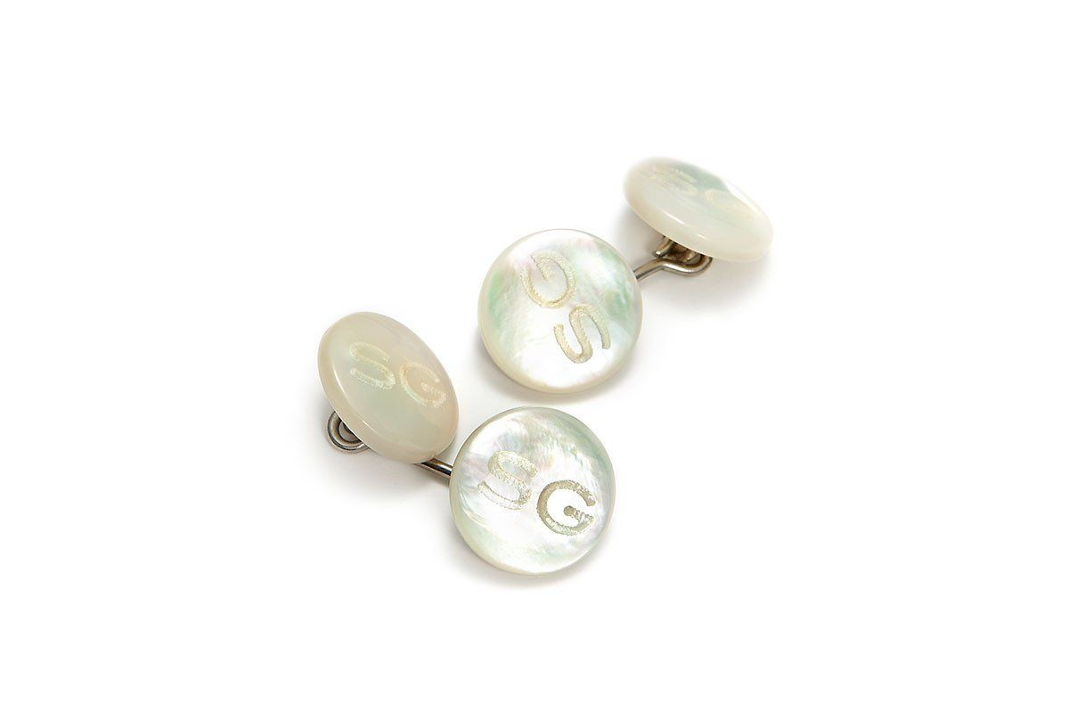 O-LINK MOTHER OF PEARL CUFFLINKS