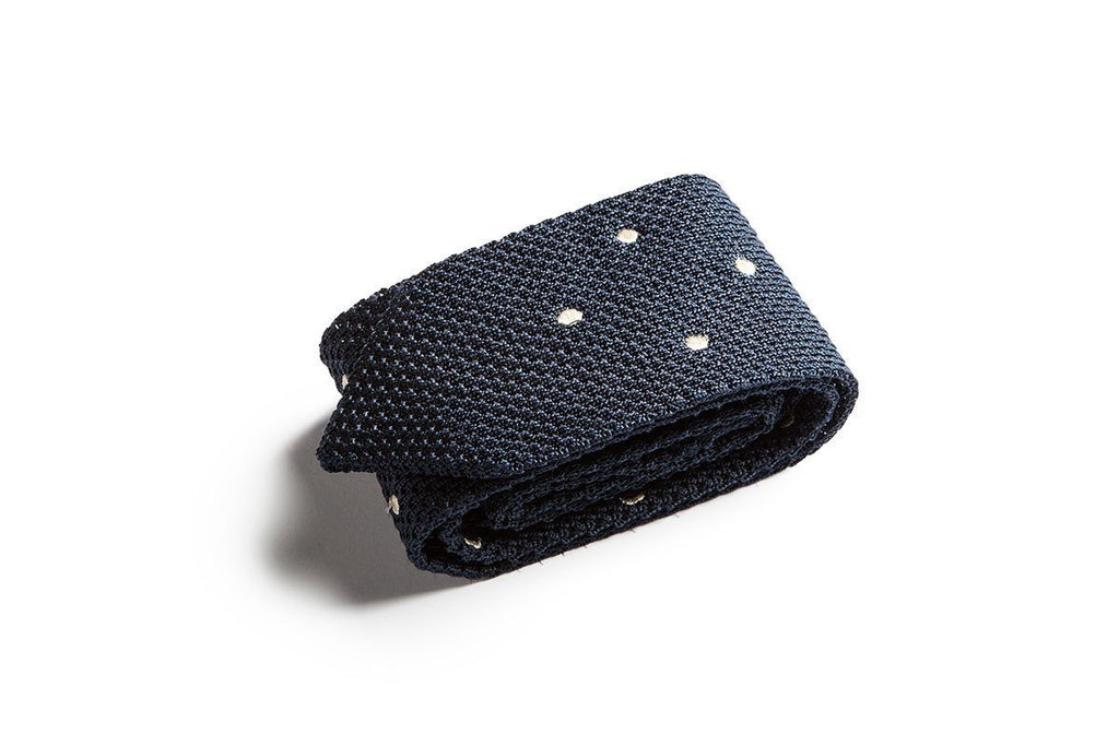 OPERETTA DOTS SILK NAVY TIE Ties and Bow Ties Superglamourous
