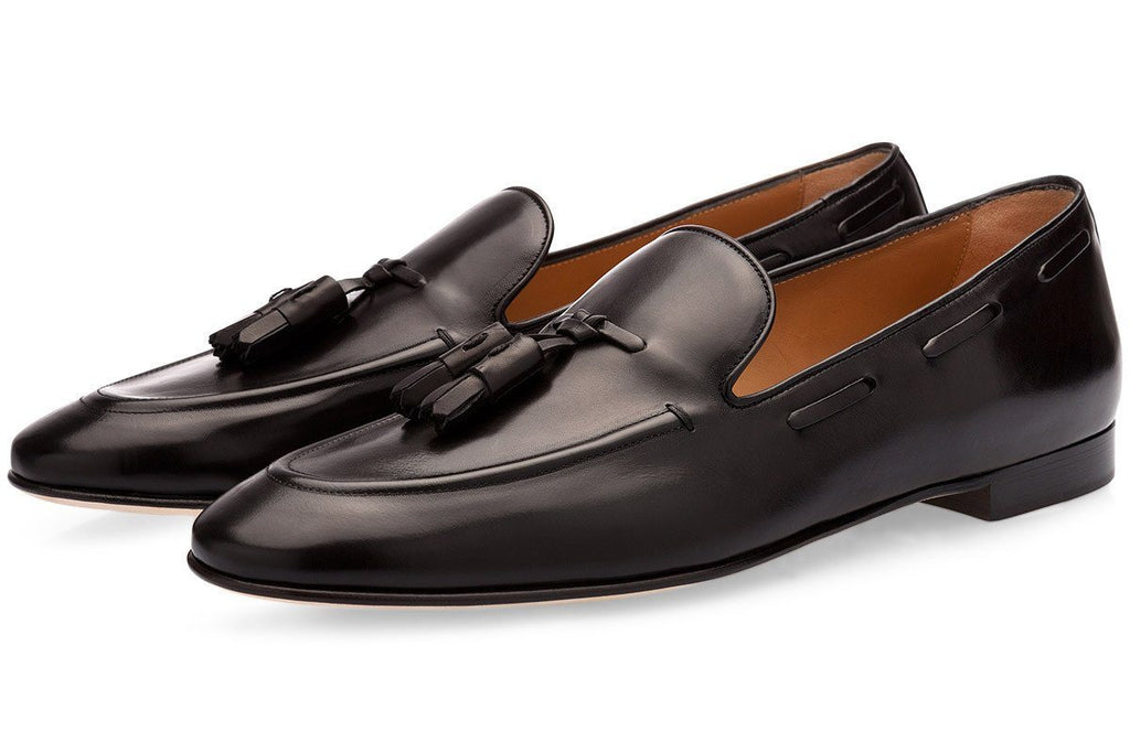 Black hand-brushed calfskin loafers with tassels