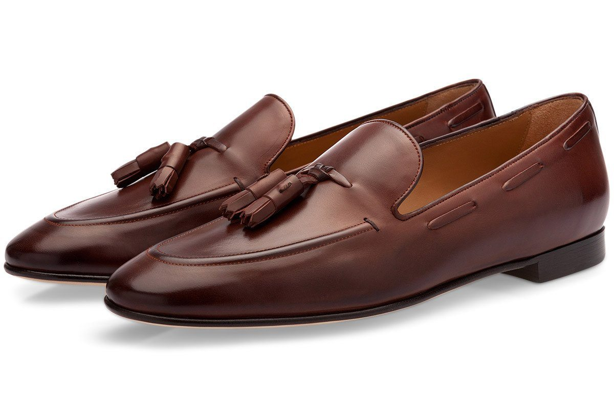 Brown hand-brushed calfskin loafers with tassels