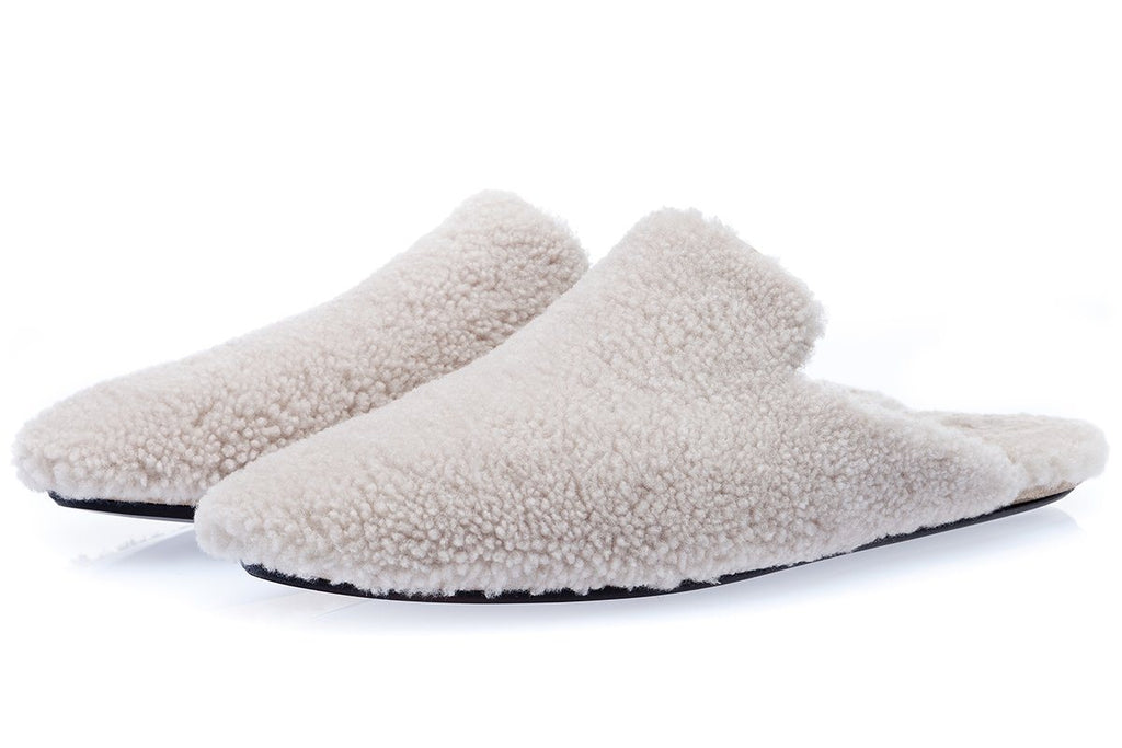 SAVANOOGA SHEARLING BEIGE LOUNGE-SLIPPERS