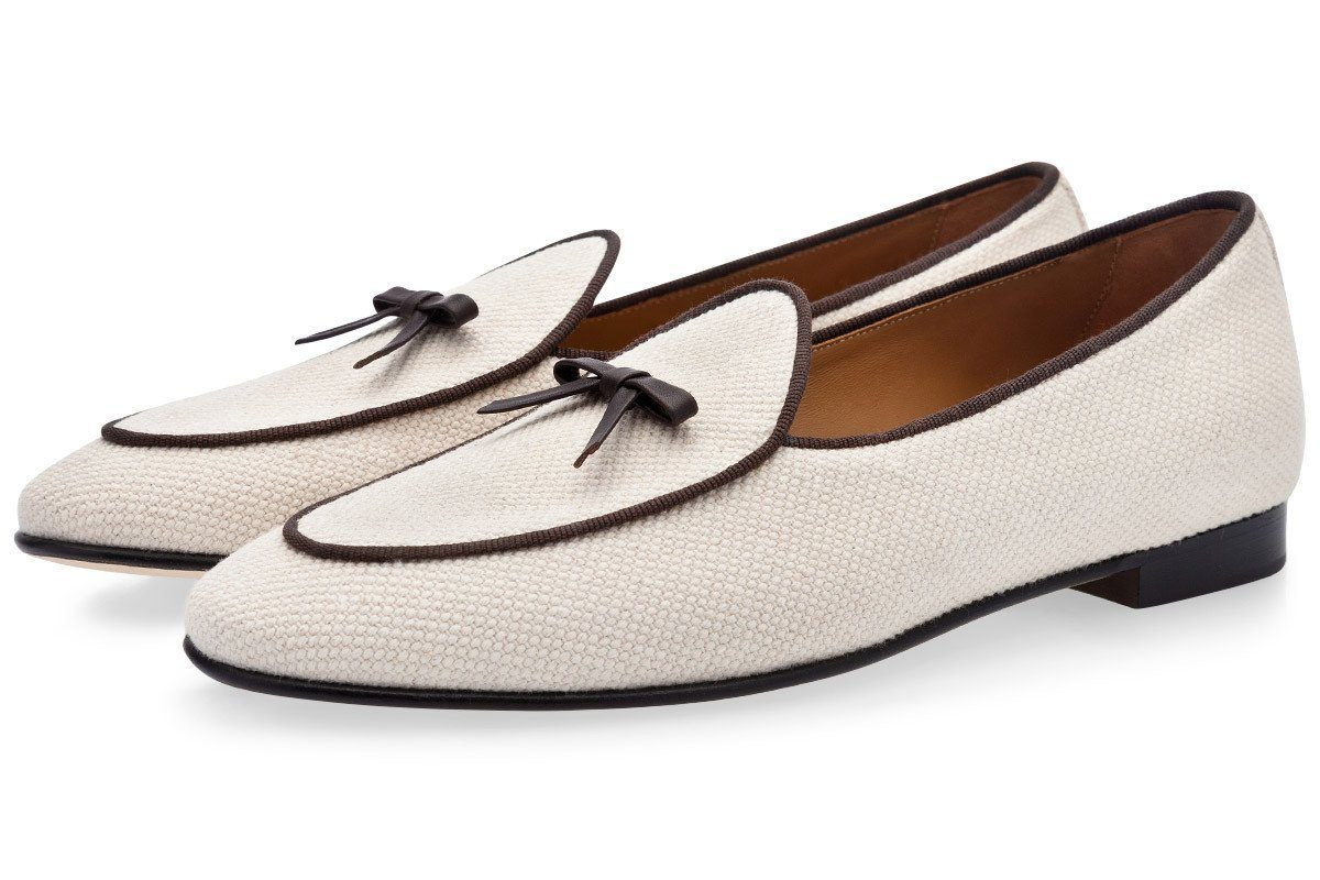 two-tone belgian loafers mens canvas