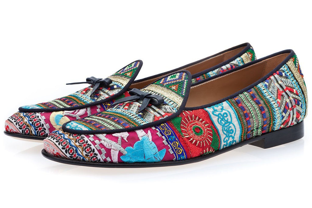 embroidered loafers men's multicolor