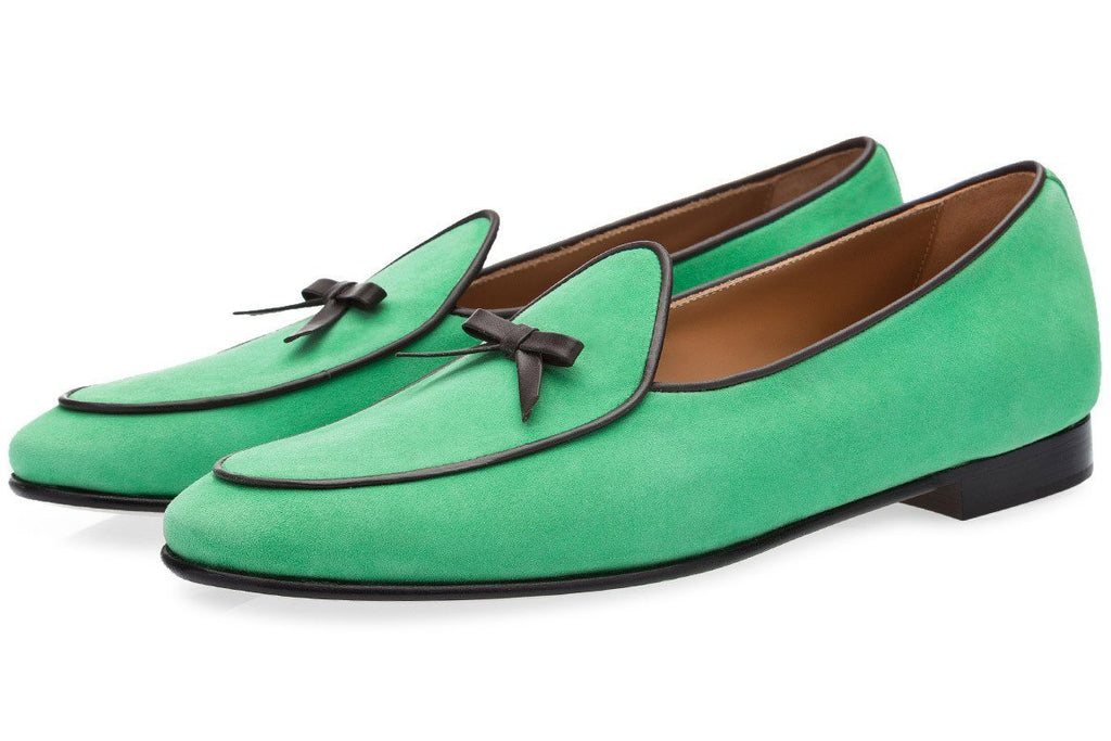 suede Belgian loafers green