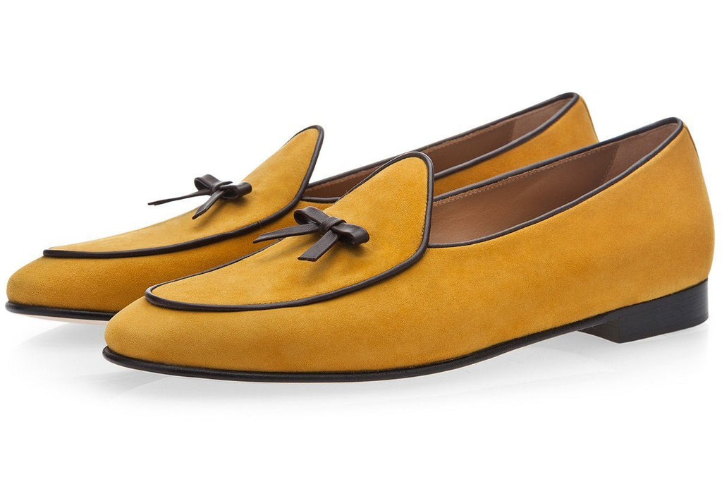 Mens belgian loafers suede yellow