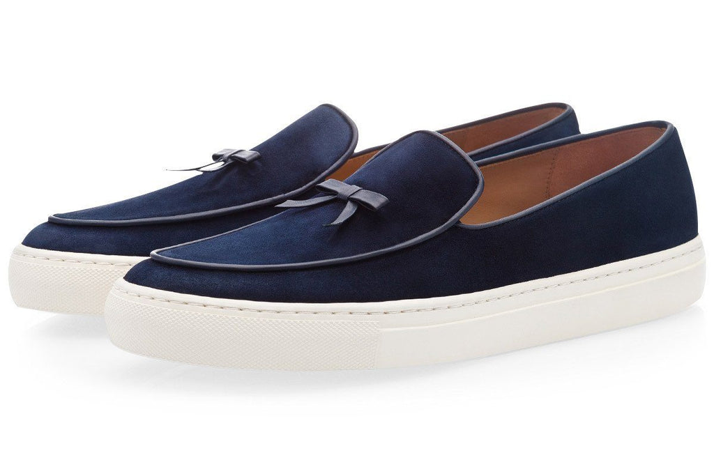 Mens belgian sneakers navy blue suede shoes