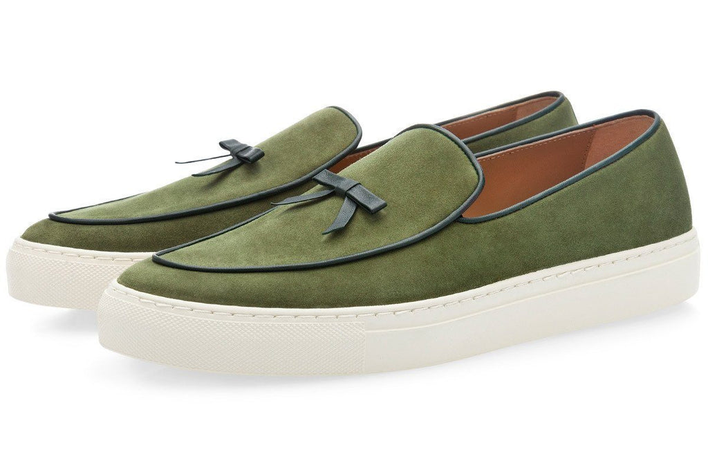 Mens belgian sneakers sage green suede shoes