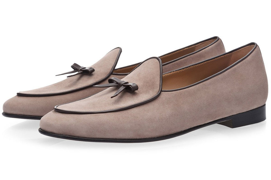 Belgian loafers mens taupe suede