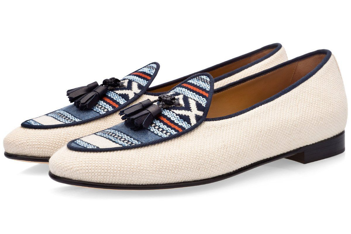 Multicolor Belgian loafers mans raw cotton canvas