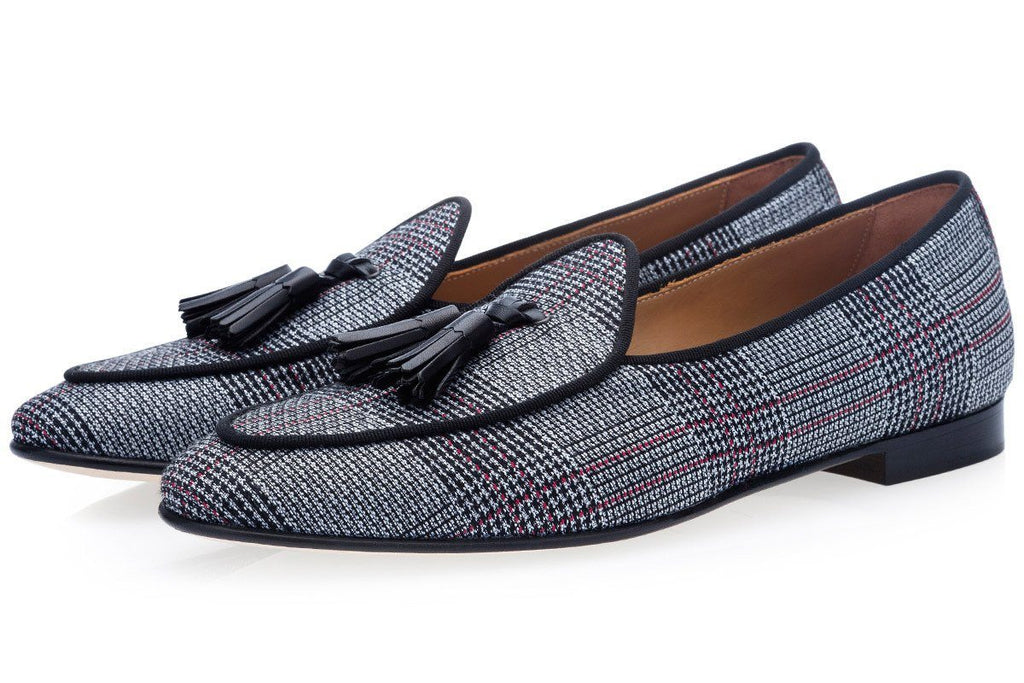 Prince of Wales canvas Belgian loafers
