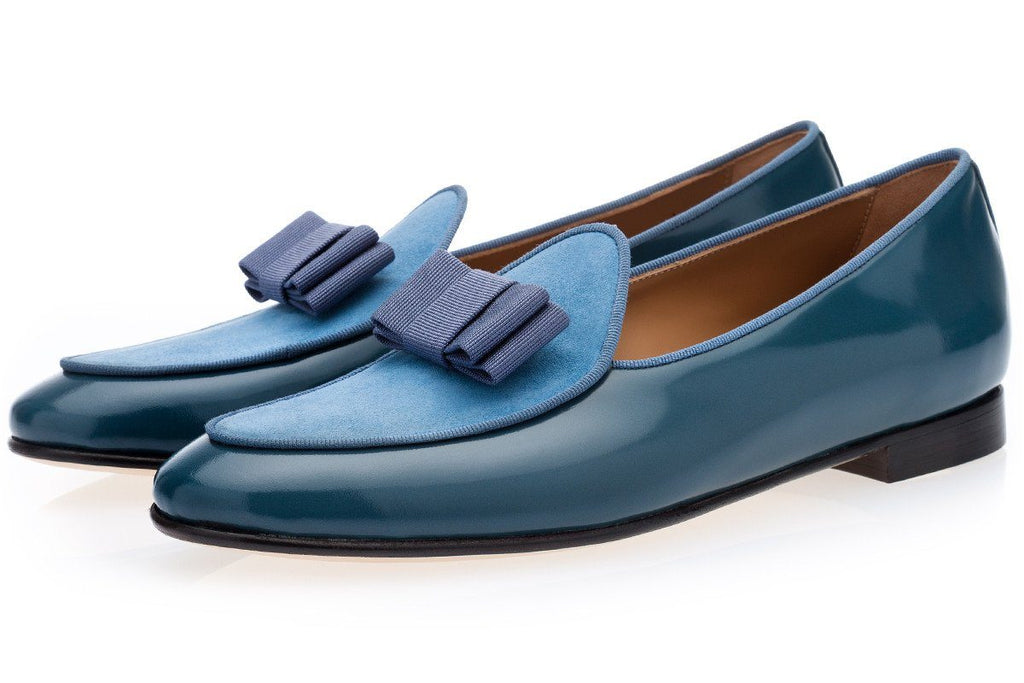 Avio blue Belgian loafers mens