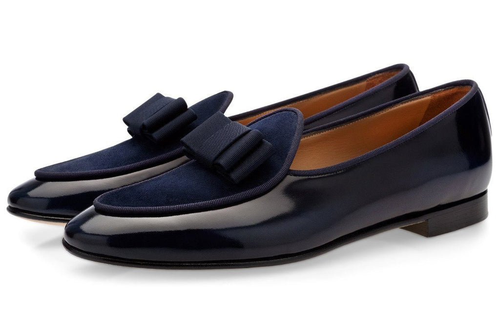TANGERINE 3 BRUSHED NAVY BELGIAN LOAFERS Belgian Loafers Superglamourous