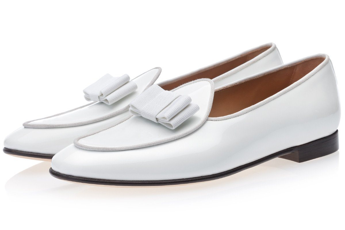 TANGERINE 3 PATENT WHITE BELGIAN LOAFERS