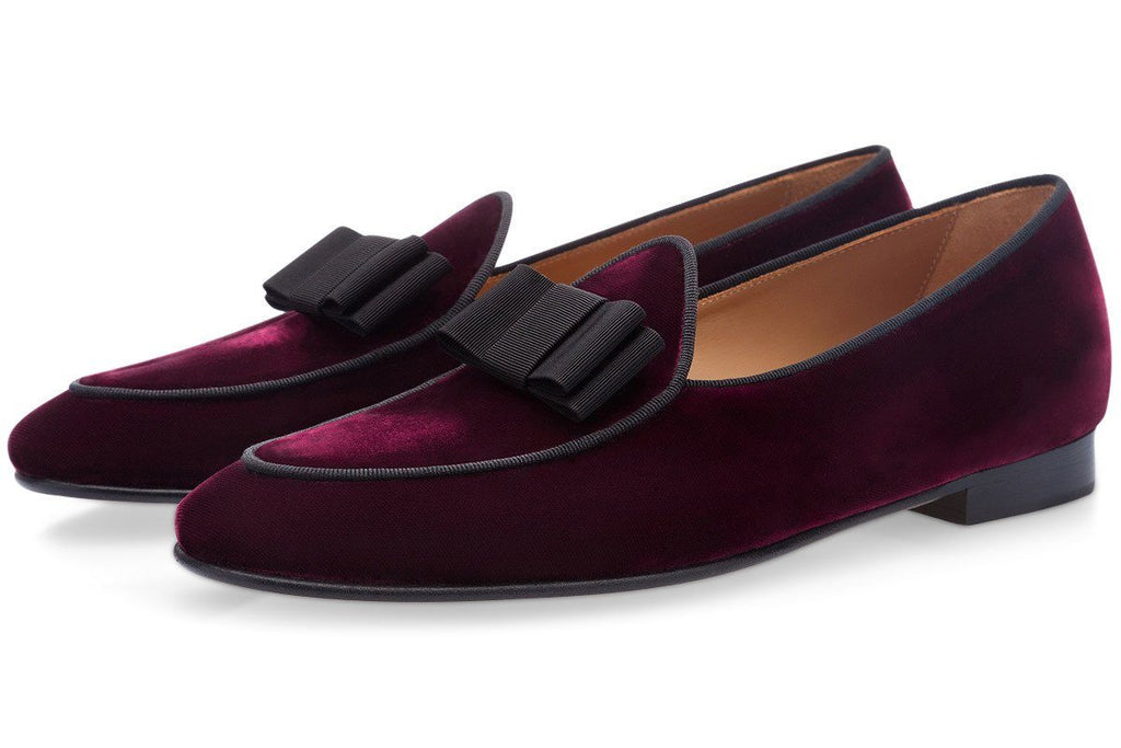 Bordeaux velvet Belgian loafers