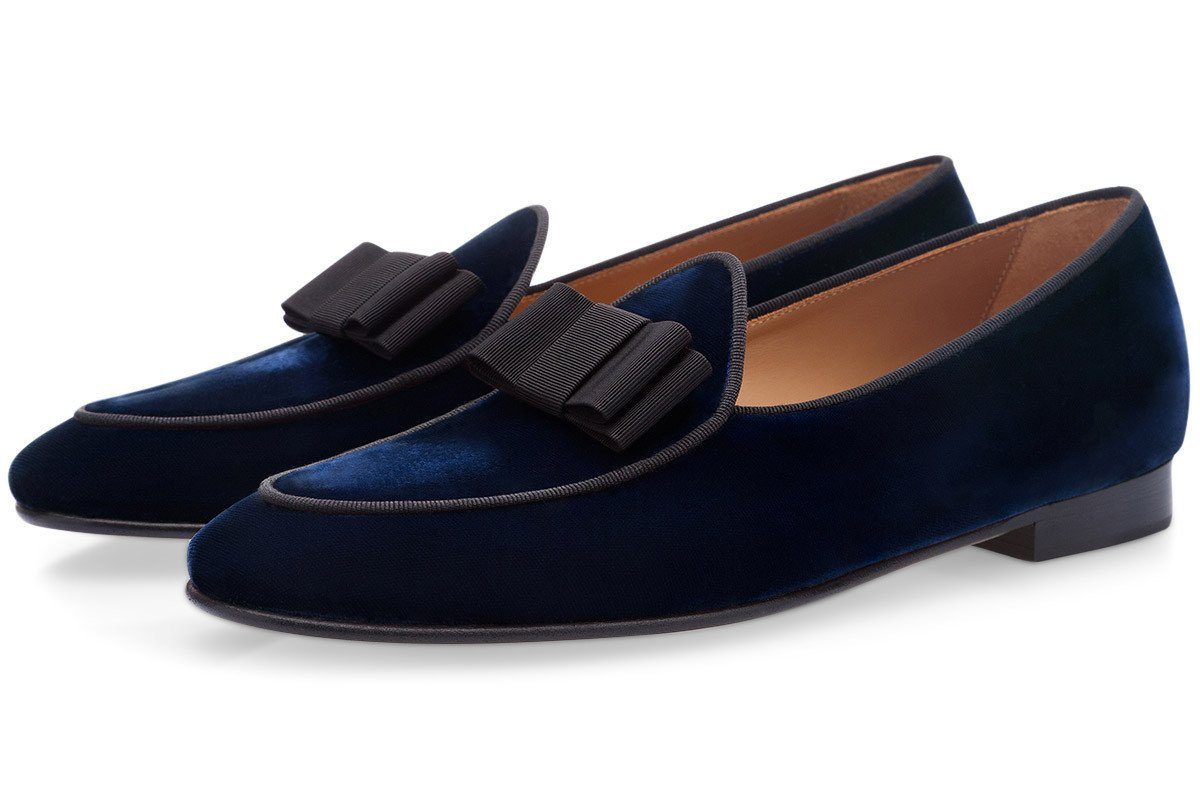 Navy blue velvet Belgian loafers mens