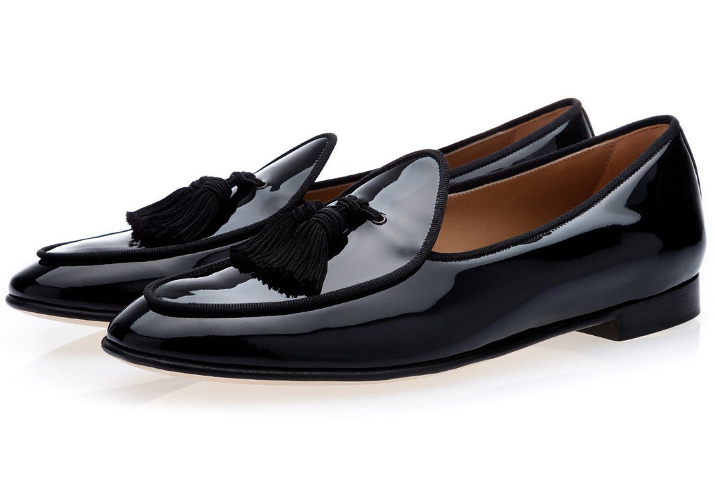 TANGERINE 4 PATENT BLACK BELGIAN LOAFERS
