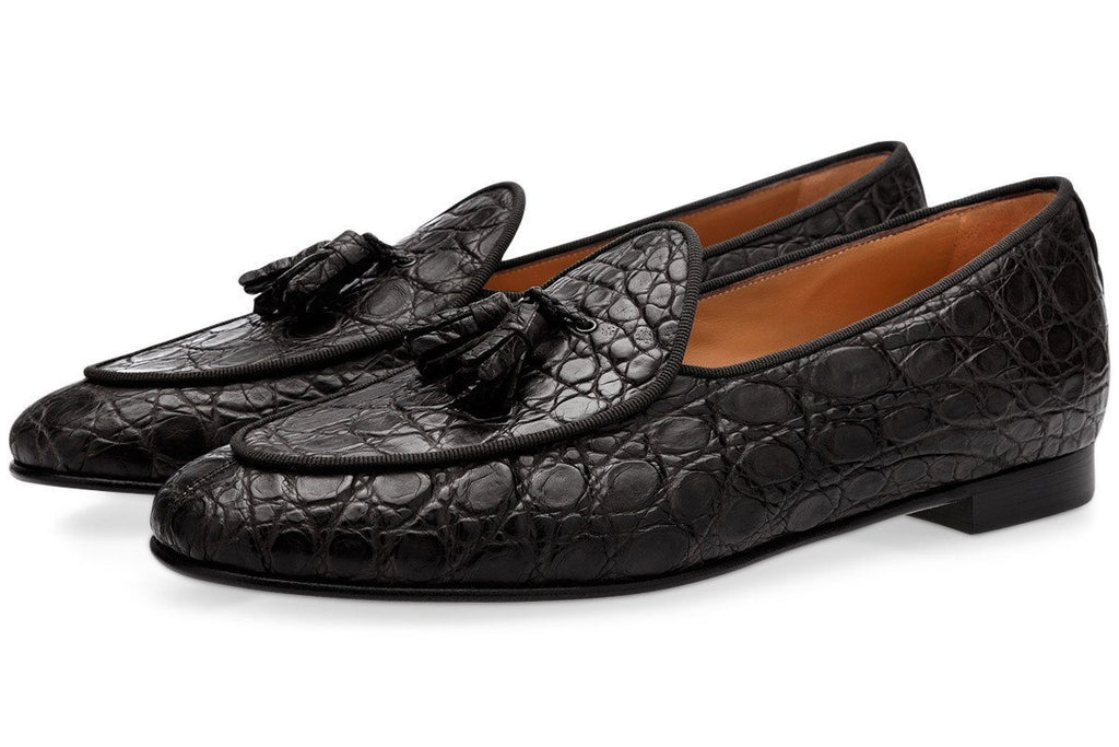 Black caiman leather Belgian loafers