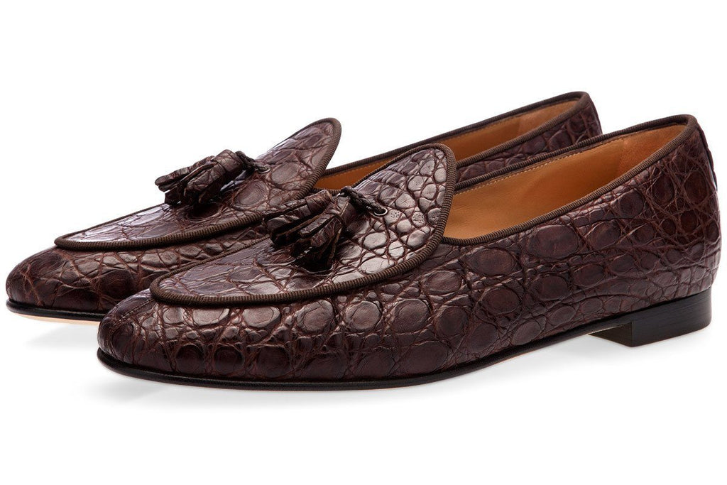 Dark brown caiman leather belgian loafers