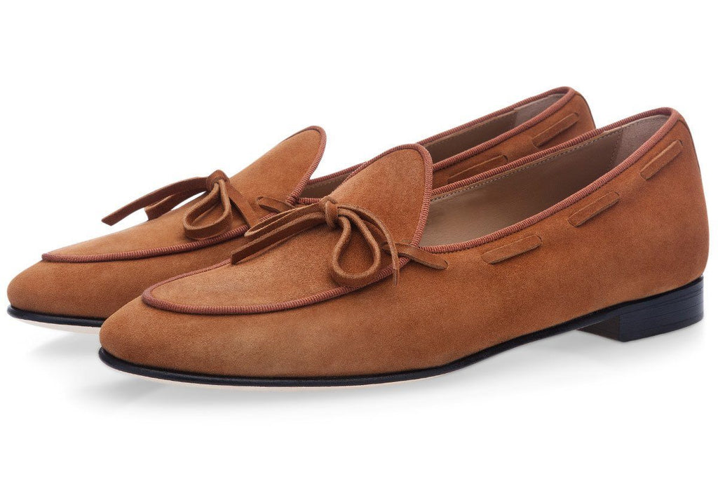 Tan suede Belgian loafers