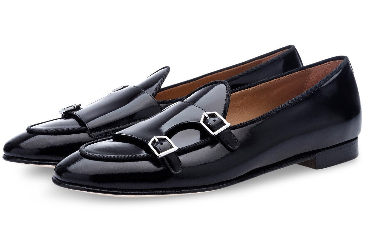 Black belgian loafers double monk