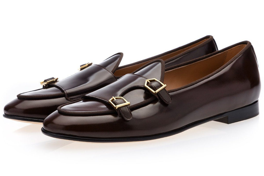 Brown belgian loafers double monk strap