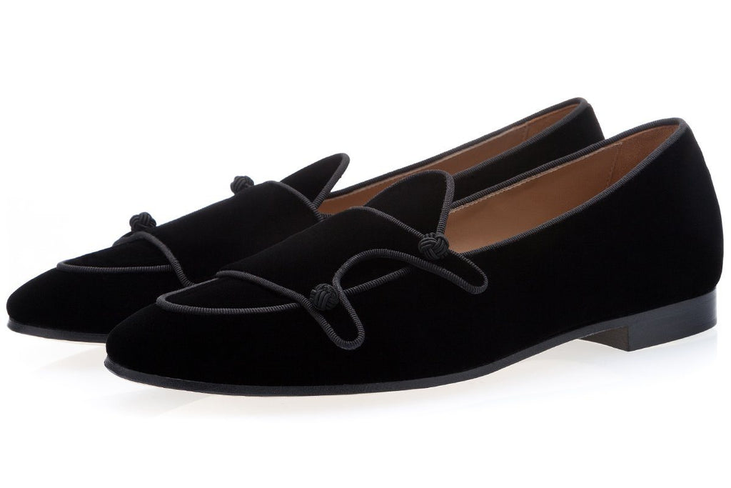 TANGERINE 7 VELOUR BLACK BELGIAN LOAFERS Belgian Loafers Superglamourous