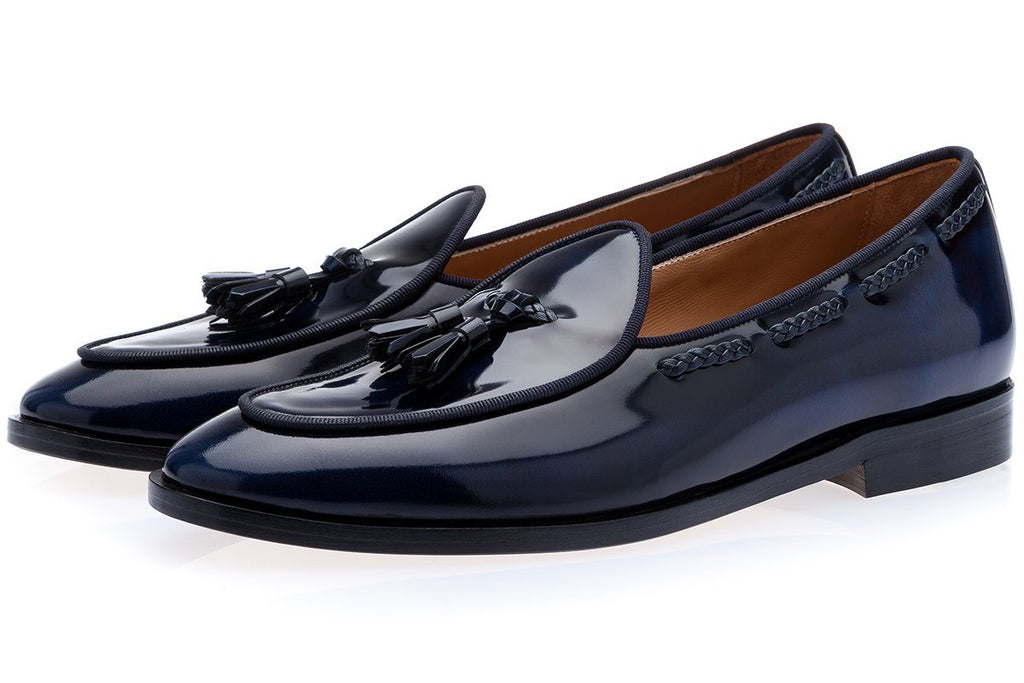 TANGERINE 8 BRUSHED NAVY BELGIAN LOAFERS