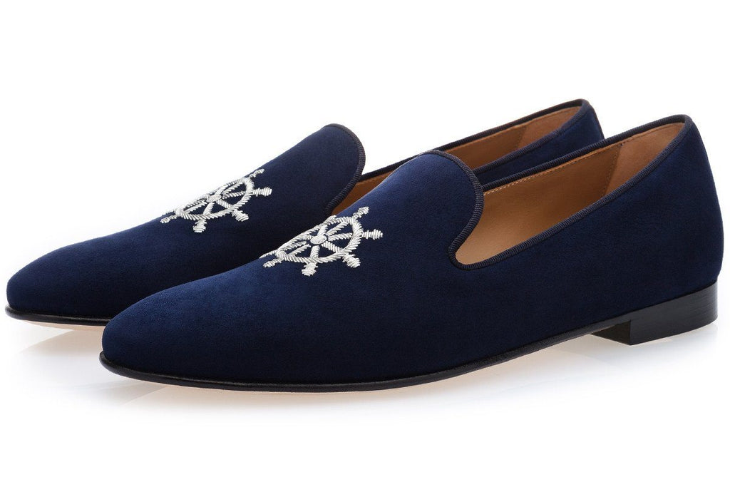 TIMON VELUKID NAVY SLIPPERS
