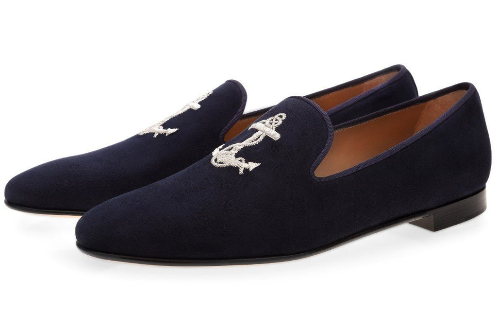 ARIEL VELUKID NAVY SLIPPERS