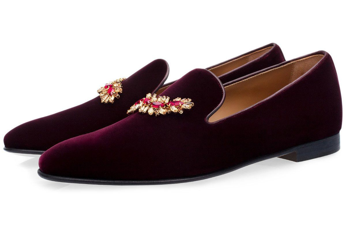 TUILERIES VELOUR BURGUNDY SLIPPERS