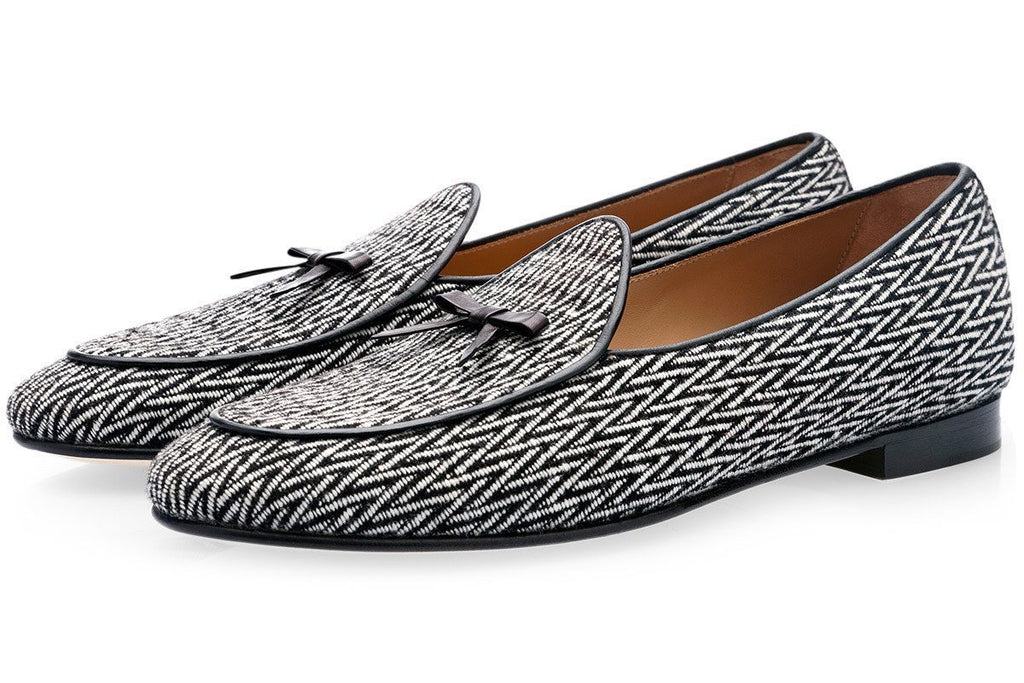 Belgian loafers balck and white spiegato wool canvas