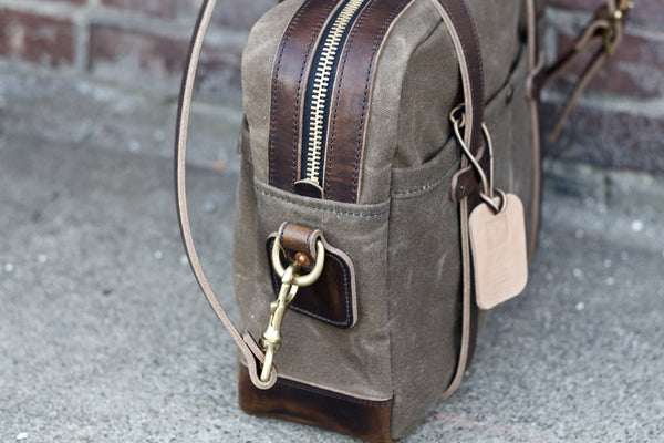 Brown Nut Dublin/ Ranger Tan Waxed Canvas Briefcase