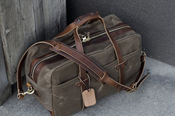 "20"" Weekender Duffle in Ranger Tan Waxed Canvas/ Brown Nut Dublin Horween"