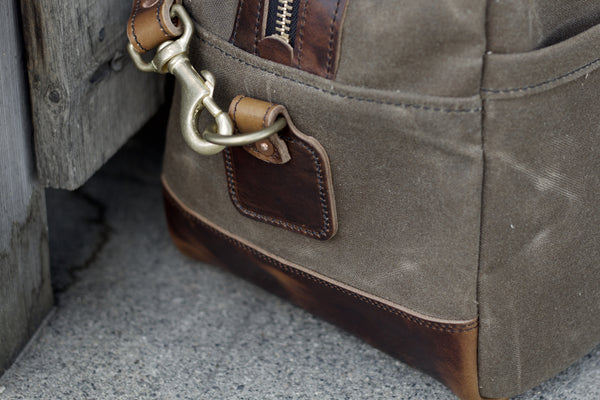 "20"" Weekender Duffle in Ranger Tan Waxed Canvas and Brown Nut Dublin Horween"