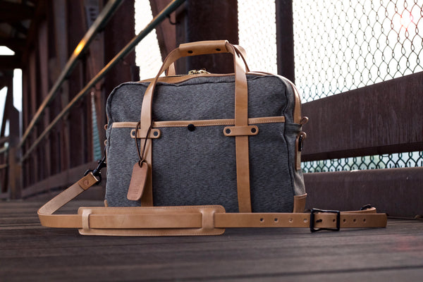 Olive Salt and Pepper Briefcase with Russet Harness leather