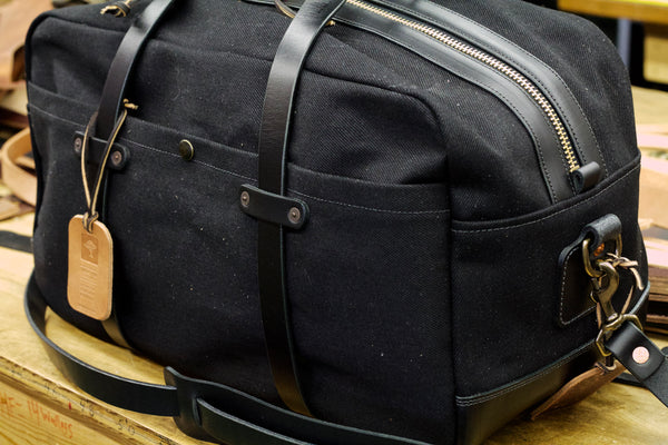 "20"" Weekender Duffle in 23oz Black Japanese Selvedge/Black Auburn Leather"