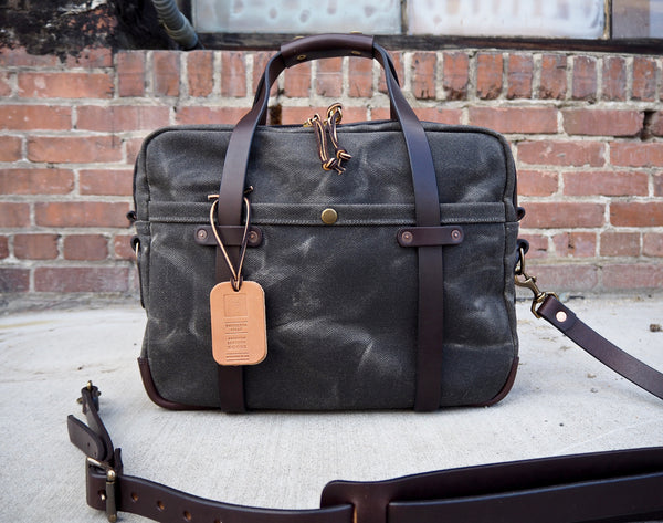 Briefcase in Heavy Olive Waxed Canvas/Brown Chromexcel