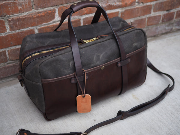 "20"" Hybrid Duffle in Heavy Olive Waxed Canvas/Brown English Bridle"