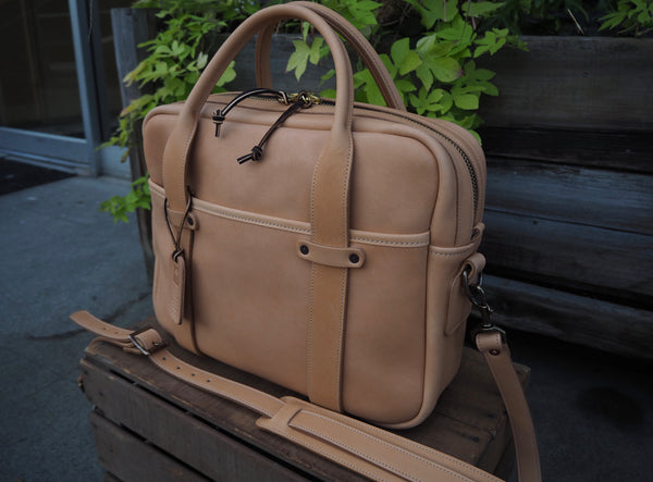 Horween Natural Essex Full Leather Briefcase