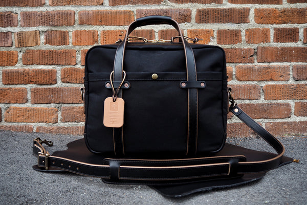 Briefcase in Black Horween Chromexcel/Dry Wax Black Twill