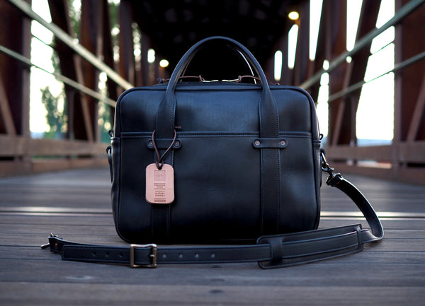 Black Essex Full Leather Briefcase
