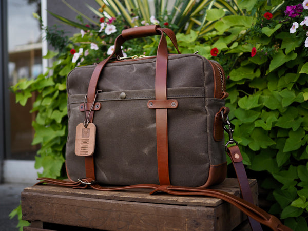 Briefcase in Ranger Tan Waxed Canvas/Cognac Auburn Leather