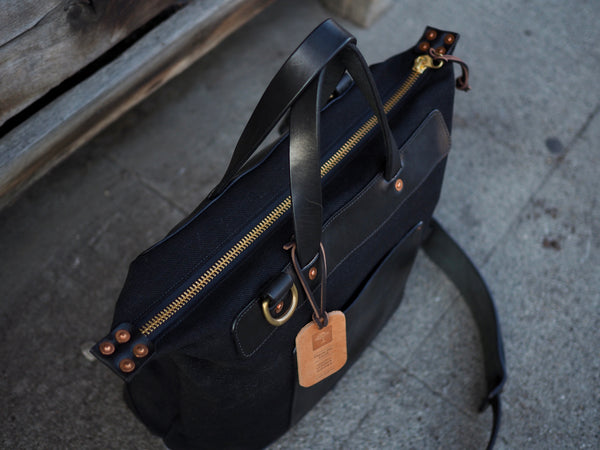 Day Bag in 23oz Black Japanese Selvedge/ Black Harness