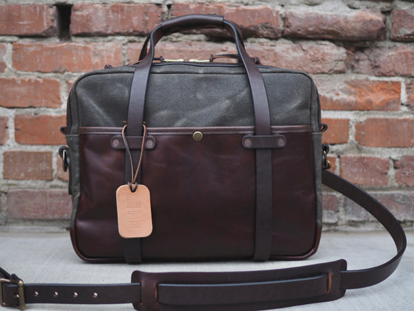 Hybrid Briefcase in Heavy Olive Waxed Canvas/Brown Chromexcel