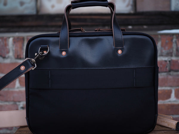 Executive Small Briefcase in Dry Wax Twill/Black Chromexcel Horsehide