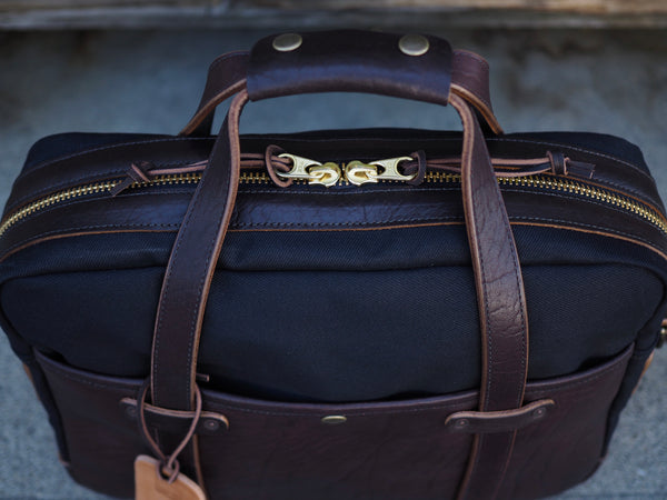 Hybrid Briefcase in Basalt Pit Tanned Chromexcel/Black Dry Wax Twill